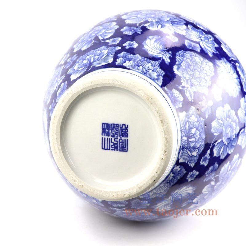 盛江陶瓷 纯手工 蓝底 青花 赏瓶