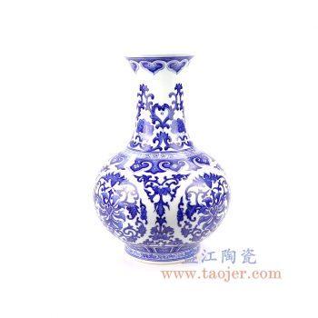 RZFQ27-A 景德镇陶瓷 手绘仿古青花富贵如意瓶新中式客厅插花装饰礼品摆件
