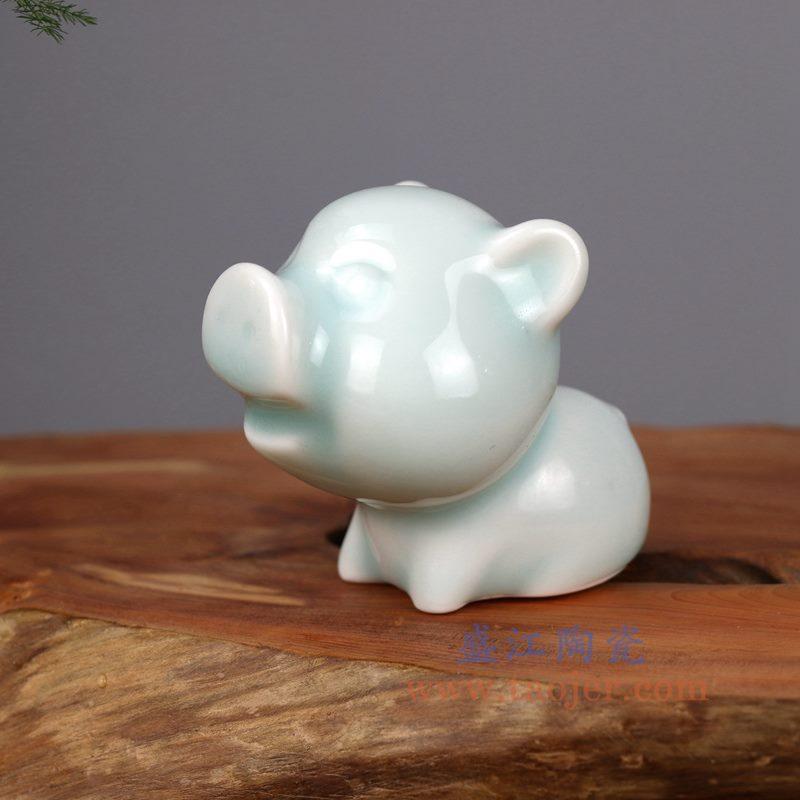 盛江陶瓷 纯手工 影青釉 小猪陶瓷小摆件
