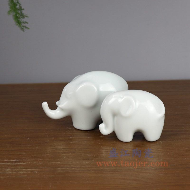 盛江陶瓷 纯手工创意雕塑大象小摆件