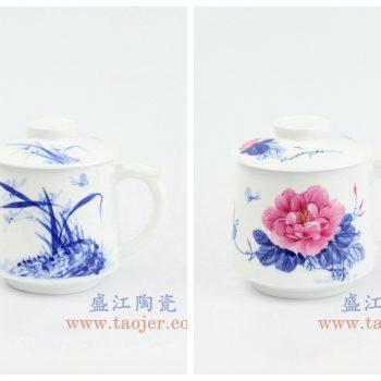 RZOH01-A-B 景德镇陶瓷 纯手绘 青花兰花 青花釉里红牡丹 陶瓷茶杯