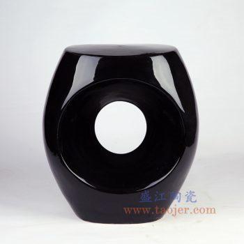 RYIR132-景德镇陶瓷 纯手工 高温瓷低温颜色釉 黑色镂空陶瓷凳 凉墩