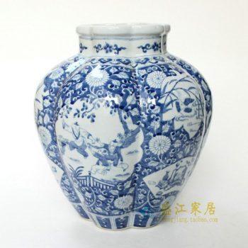 RYQQ06 景德镇陶瓷 仿古纯手绘开窗婴戏花卉图瓜瓤罐