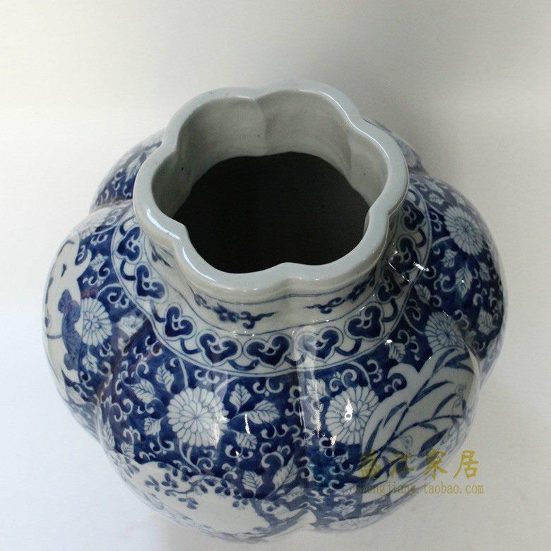 盛江陶瓷 仿古纯手绘开窗婴戏花卉图瓜瓤罐