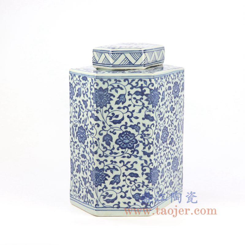 盛江陶瓷 纯手绘 青花缠枝六方陶瓷罐 盖罐 储物罐