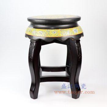 RYYZ13-景德镇陶瓷 纯手工手绘 粉彩檀木陶瓷凳