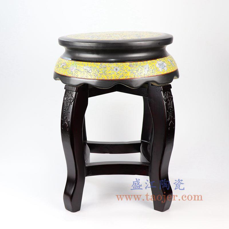 盛江陶瓷 纯手工手绘 粉彩檀木陶瓷凳