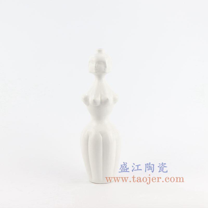 盛江陶瓷 北欧白色陶瓷人面花瓶 妖娆的伊迪