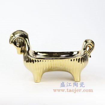 RZLK28-景德镇陶瓷 高温瓷低温颜色釉 金色陶瓷水果盘