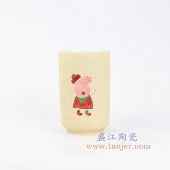 RZOC02-景德镇陶瓷 手绘小猪佩奇马克杯 陶瓷杯