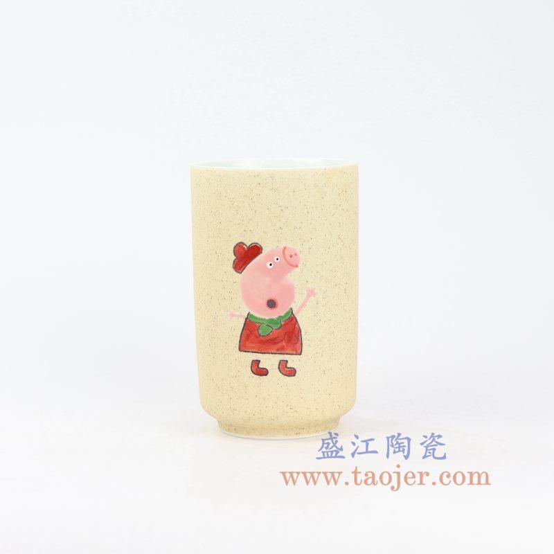 盛江陶瓷 手绘小猪佩奇马克杯 陶瓷杯