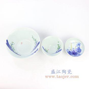 RZOC03-05 景德镇陶瓷 手绘青花山水写意 小碗小蝶