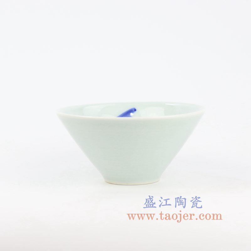 盛江陶瓷 手绘青花山水写意 小碗小蝶