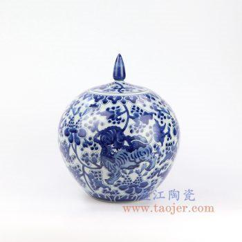 RZOE01 景德镇陶瓷 仿古手绘青花狮子纹尖顶苹果罐 盖罐 储物罐
