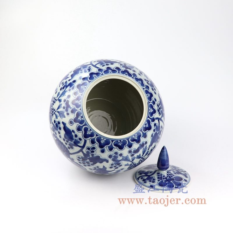 盛江陶瓷 仿古手绘青花狮子纹尖顶苹果罐 盖罐 储物罐