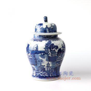 RYLU157-景德镇陶瓷 仿古纯手工手绘青花山水建筑狮子头将军罐 盖罐 储物罐