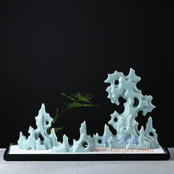 RZON04 景德镇陶瓷 纯手工 影青创意假山 太湖石禅意陶瓷摆件