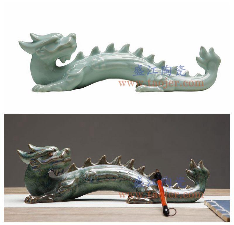 上图:RZON02 盛江陶瓷 纯手工影青 仿青铜 龙 书房客厅装饰摆件 毛笔架 组合图