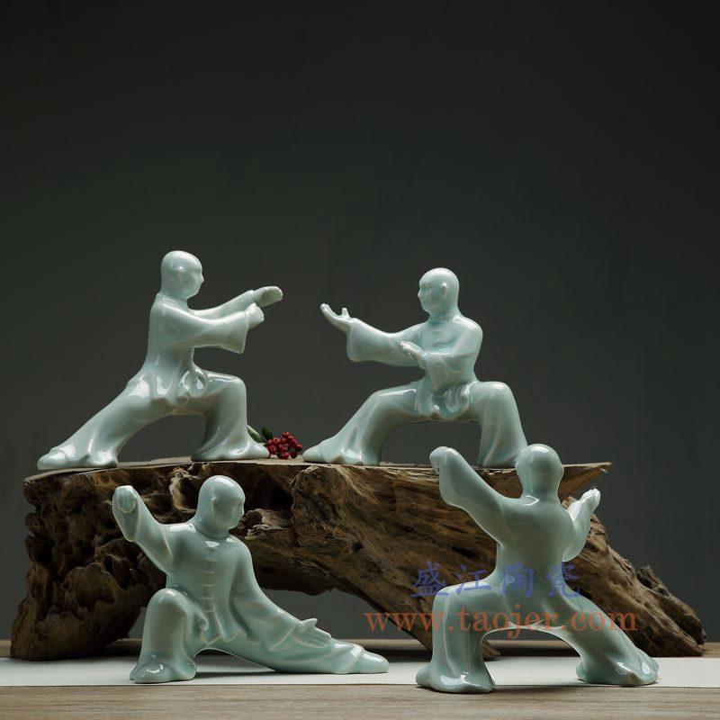 上图:RZON03 盛江陶瓷 纯手工雕刻太极新中式人物书房陶瓷摆件 组合图