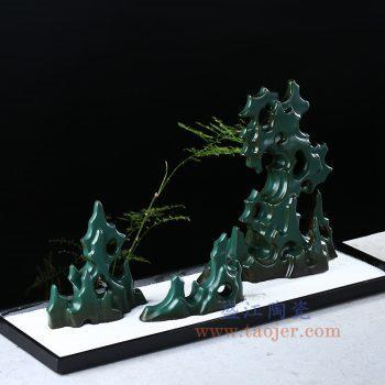 RZON05 景德镇陶瓷 纯手工 墨绿仿石创意假山太湖石禅意陶瓷摆件