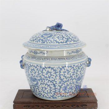 RYVM36-景德镇陶瓷 仿古做旧青花蟾蜍盖缸 玄关博古架摆件摆设