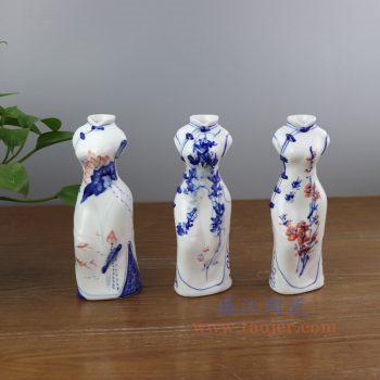 RYBZ165-景德镇陶瓷 手绘青花加彩旗袍陶瓷小花插花瓶