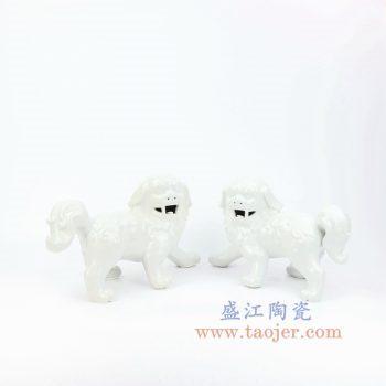 RZKC01-B 景德镇陶瓷 纯手工 雕塑瓷 白色眼睛 狮子狗 一对