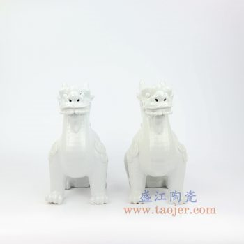 RZKC04-B 景德镇陶瓷 纯手工 雕塑瓷 白色眼睛 麒麟摆件 一对