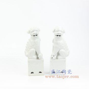 RZKC17-B 景德镇陶瓷 纯手工 雕塑瓷 白色眼睛 带底座狮子狗 一对