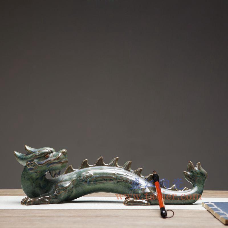 上图:RZON02-B 盛江陶瓷 纯手工 仿青铜 龙 书房客厅装饰摆件 毛笔架