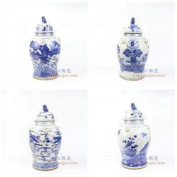 RZMV30-33 景德镇陶瓷 仿古手工手绘 青花狮子头将军罐 盖罐 储物罐