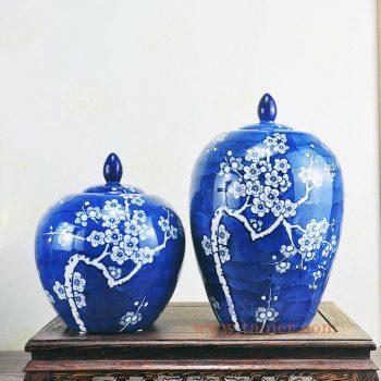 RYPU52-景德镇陶瓷 手绘青花喜字将军罐 盖罐 储物罐