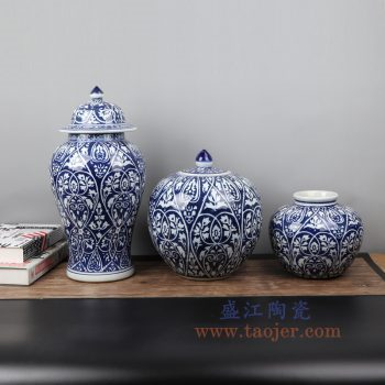 RYZS56-景德镇陶瓷 纯手工蓝底青花将军罐 西瓜罐 苹果罐 盖罐 储物罐