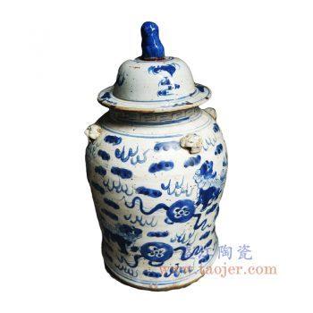 RZEY12-G-景德镇陶瓷 仿古做旧 手绘青花双狮抱球 狮子头将军罐 盖罐 储物罐