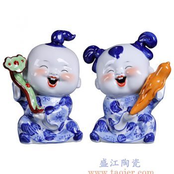 RZGB15-景德镇陶瓷 手工雕塑青花瓷娃娃 童子童趣 人生如意中式婚庆可爱小摆件 男娃女娃一对
