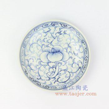 RZIQ09 景德镇陶瓷 仿古青花缠枝小盘 赏盘