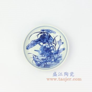 RZIQ10 景德镇陶瓷 仿古青花手绘兰花小盘 赏盘