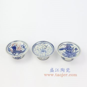 RZIQ11 景德镇陶瓷 仿古做旧青花高脚碟
