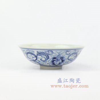 RZIQ13 景德镇陶瓷 仿古手绘青花缠枝莲汤碗