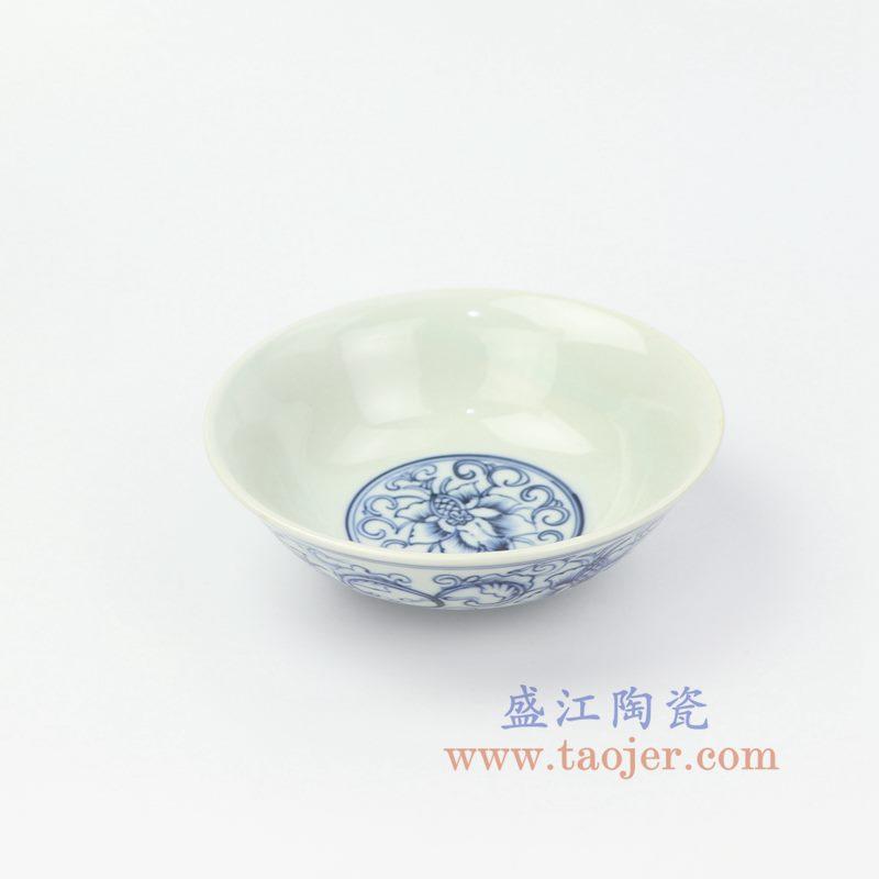 RZIQ13 盛江陶瓷 仿古手绘青花缠枝莲汤碗