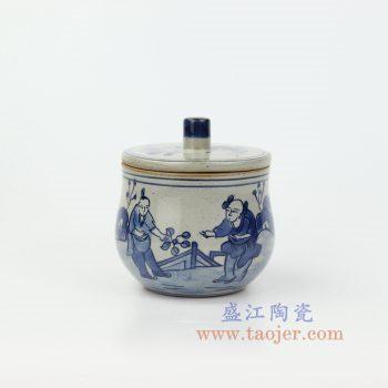 RZIQ16 景德镇陶瓷 仿古做旧青花瓷 人物陶瓷茶叶罐盖罐储物罐