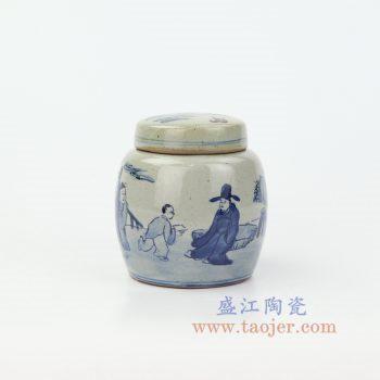 RZIQ17 景德镇陶瓷 仿古做旧青花瓷 人物陶瓷茶叶罐盖罐储物罐