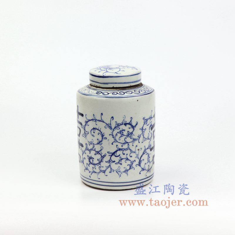 上图:RZKT11-A_ 盛江陶瓷 仿古 手工手绘 青花 喜字罐 盖罐 储物罐