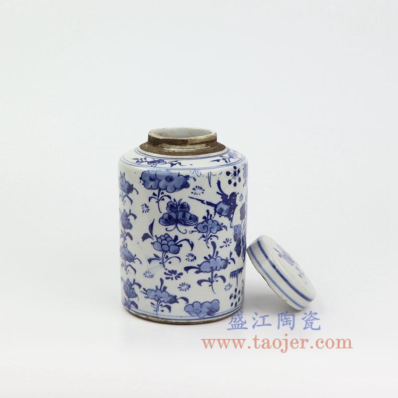 上图:RZKT11-B 盛江陶瓷 仿古 手工手绘 青花 荷花罐 盖罐 储物罐