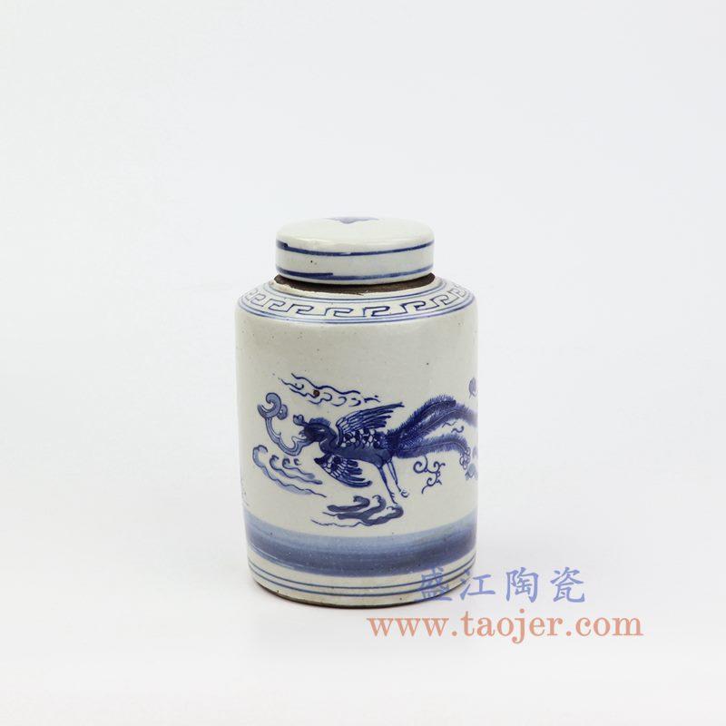 上图:RZKT11-C 盛江陶瓷 仿古 手工手绘 青花 麒麟凤凰 陶瓷 罐 盖罐 储物罐