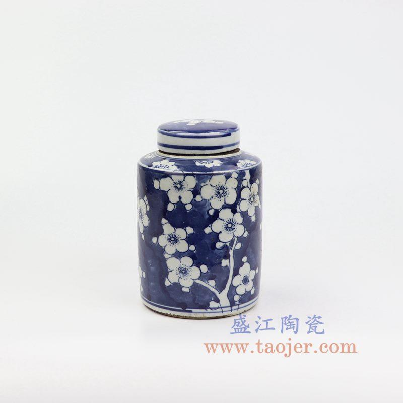 上图:RZKT11-D 盛江陶瓷 仿古 手工手绘 青花 蓝底冰梅陶瓷 罐 盖罐 储物罐