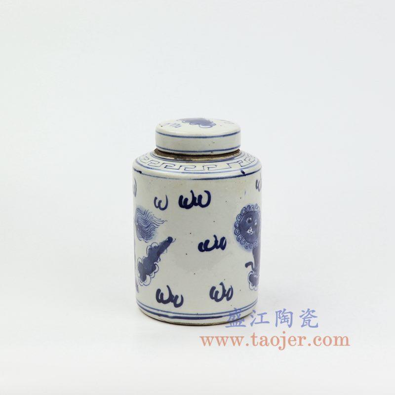 上图:RZKT11-E 盛江陶瓷 仿古 手工手绘 青花 狮子纹 陶瓷 罐 盖罐 储物罐