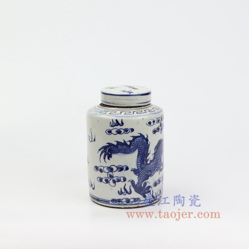 上图:RZKT11-F 盛江陶瓷 仿古 手工手绘 青花 龙纹 陶瓷 罐 盖罐 储物罐