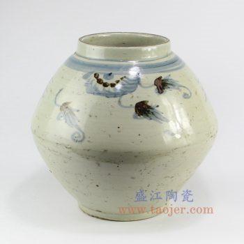 RZNA02-景德镇陶瓷 仿古 明朝 手绘青花 釉里红鱼草 陶瓷罐 花插花瓶
