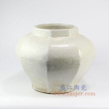 RZNA05-景德镇陶瓷 仿古 亚光白 明朝 六方 陶瓷罐